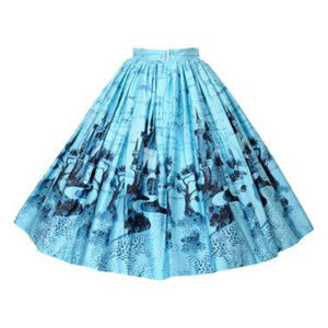 Pinup Clothing Jenny skirt in blue castles  EUC